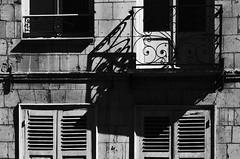 (Jean-Luc Lopoldi) Tags: bw soleil noiretblanc pierre shutters faade volets ombres vieilleville balcons ferm mystre contrasteshadows
