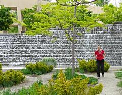 Catherine at the Salt Lake City Library garden (ali eminov) Tags: people gardens utah women cities saltlakecity catherine waterfalls sculpturegarden saltlakecitypubliclibrary