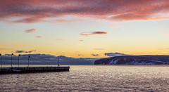 The Dock and the Island (Danny VB) Tags: morning winter sea sun snow seascape canada clouds sunrise canon island eos early dock january newyear qubec isle ef50mmf18ii bonaventure 6d 2016 redclouds perc ilebonaventure