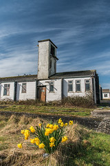 Old Army Camp (Howie Mudge LRPS) Tags: door uk travel flowers windows camp sky travelling tower nature grass wales architecture clouds buildings landscape outside army outdoors nikon day bright path exploring pipes cymru sunny bluesky huts explore walkabout d750 fullframe polarizer daffodils pathway gwynedd lowangle polariser tywyn fantasticnature 24120mmf4vr