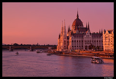 River sunset in Budapest (Dan Wiklund) Tags: city sunset urban river boats evening hungary cityscape budapest parliament magyar danube d800 2015
