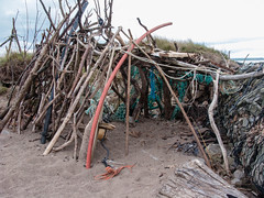 Driftwood shelter 2 (allybeag) Tags: beach coast sticks sand branches pebbles shore bender shelter temporary solway allonby dubmillpoint