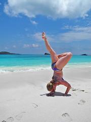 Beach Playtime- Galapagos, Ecuador (Flortography) Tags: ocean woman sun mer sexy beach nature yoga lady female pose fun outdoors coast ecuador chica play femme joy sunny galapagos bikini handstand armbalance