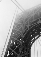 Foggy Bridge (Brian Gilbreath) Tags: street nyc newyorkcity bridge blackandwhite bw white ny black film fog architecture 35mm photography newjersey dusk foggy nj streetphotography georgewashingtonbridge