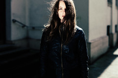 Selina (absimilard) Tags: light woman girl youth mannheim leatherjacket sunray