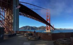 Golden Gate Bridge (Accretion Disc) Tags: sanfrancisco bridge orange fog bay suspension goldengatebridge goldengate marinheadlands