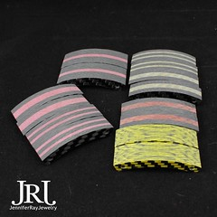 Still to be sanded new colored carbon fiber pieces! Once sanded the colors will pop more and the carbon will be blacker. Red cores, gold cores, Orange core and solid yellow. #jenniferrayjewelry #jrjcarbon #jrj #carbonfiber #carbonfibre #carbonfiberbracele (JenniferRay.com) Tags: ray jennifer jewelry carbon custom fiber exclusive paracord jrj instagram