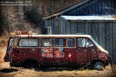 Done Camping! (sminky_pinky100 (In and Out)) Tags: old canada abandoned metal barn rural landscape outdoors novascotia decay rusty vehicle ruraldecay decaying campervan omot cans2s