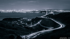Gotham Bay (thegentledon) Tags: sanfrancisco california bridge blackandwhite cityscape thecity bridges pch goldengatebridge goldengate freeway baybridge bayarea marincounty sausalito marinheadlands highway101 freeways pacificcoasthighway gothamcity streetsofsf