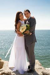 T&D (remofoto) Tags: ocean california flowers blue wedding sky cliff woman man groom bride dress bouquet