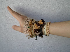 beaded crochet bracelet with cream, brown, green and beige beade details, crocheted flowers and laces (irregular expressions) Tags: flowers flower art thread beads colorful handmade unique crochet expressions jewelry jewellery cotton button bracelet statement wearableart etsy cuff wearable fiberart fiber crocheted beaded fibers beadwork textileart irregular freeform flowery delica seedbeads beadcrochet freeformcrochet delicabeads crochetbracelet beadedcrochet beadedbracelet crochetart beadedcuff beadedlace irregularexpressions crochetcuff statementbracelet statementjewelry statementcuff beadedcrochetbracelet freeformcrochetbracelet
