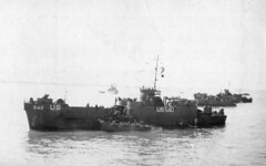 USS LCI (L) and another unloading inside Gooseberry at Utah Beach, Normandy. (HarryKidd) Tags: ww2 landingcraft dday omahabeach