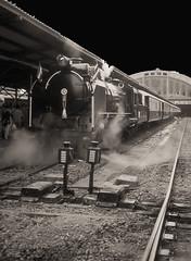 Thailand - Bangkok Hua Lamphong - The revival of Thai steam (railasia) Tags: heritage monochrome thailand bangkok mikado eighties infra srt hualamphong metergauge heritagerun class900 steamlocotrain