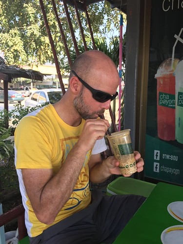 Just a week into Thailand, Aaron is hooked on the iced coffees
