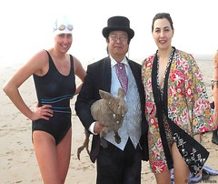 Dr. Takeshi Yamada and Seara (Coney Island Sea Rabbit) at the winter swimming event by the Coney Island Polar Bear Club at the Coney Island Beach in Brooklyn, New York on January 10 (Sun), 2015.  20160110Sun DSCN3339=pC2. Ellaine Pavlova. Susan (searabbits23) Tags: winter ny newyork sexy celebrity art beach fashion animal brooklyn asian coneyisland japanese star yahoo costume tv google king artist dragon god cosplay manhattan wildlife famous gothic goth performance pop taxidermy cnn tuxedo bikini tophat unitednations playboy entertainer samurai genius donaldtrump mermaid amc mardigras salvadordali billclinton hillaryclinton billgates aol vangogh curiosities bing sideshow jeffkoons globalwarming takashimurakami pablopicasso steampunk damienhirst cryptozoology freakshow barackobama polarbearclub seara immortalized takeshiyamada museumofworldwonders roguetaxidermy searabbit ladygaga climategate