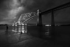 Forth Rail Bridge (Douglas Collinson) Tags: bridge blackandwhite bw night mono nikon crossing railway estuary d800 forthrailbridge 1835