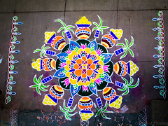 My wife's Rangoli (venmaddy) Tags: colors winner chennai kolam rangoli