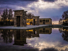 Temple of Debod, Madrid (Chris Gouge) Tags: madrid life street city longexposure travel sunset sky urban colour reflection history water clouds reflections landscape real temple twilight spain europe dusk vibrant historic egyptian colourful authentic debod