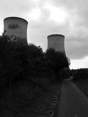 Power Walk (mdavidford) Tags: blackandwhite track industrial power path towers electricity soot cycletrack cyclepath generation chimneys coolingtowers hyperbolic didcotpowerstation didcota didcotanorth thehansonway