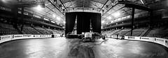 Behind the Scenes (evanffitzer) Tags: blackandwhite bw panorama hockey concrete mono concert construction lift britishcolumbia stage curtain arena lonely kamloops venue iphone6 evanffitzer evanfitzer