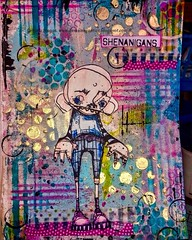 My journal page I made for this week's Stampotique Challenge hosted by Samantha Read - Spots and Stripes....  #Stampotique #mixedmedia #acrylicpaint #decoartmedialine #spots #stripes #colourful #brightcolours #layers #texturepaste #depth #stencils (gemjackets) Tags: stencils mixedmedia stripes spots layers colourful depth acrylicpaint brightcolours stampotique texturepaste decoartmedialine