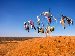 Interesting!! Clothes line in the middle of nowhere. Back of Bourke NSW Australia. (Rosa Perry) Tags: red landscape desert australianoutback iphoneography iphone6