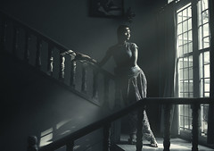 Morning (georgerani532) Tags: morning windows portrait india girl composition mono naturallight indoor kerala stairway desaturated banister lowkey lightandshadow thiruvananthapuram innamoramento stealingshadows canon70d