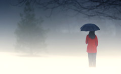 Girl in red coat (static_dynamic) Tags: winter snow girl rain fog umbrella outdoor redcoat