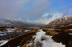 River and path (Tom Inglis) Tags: sky snow mountains cold tom clouds canon scotland highlands aberdeenshire thomas path walk rocky hike lodge burn weir xsi cairngorms braemar inglis callater 450d thomasy7