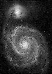 Whirlpool of Dreams (sjrankin) Tags: edited nasa m51 grayscale processed filtered whirlpoolgalaxy 4march2016