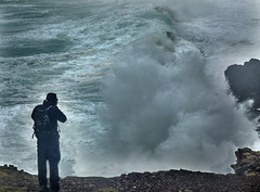 Paul photographing waves at Levant (Odd Wellies) Tags: england unitedkingdom pendeen sw3734