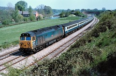 Loco 50025  |  Hungerford, UK  |  1980 (keithwilde152) Tags: uk summer train landscape countryside canal br diesel outdoor hungerford passenger common 1980 locomotives class50