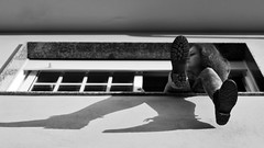 60/366: whiling away the time (Andrea  Alonso) Tags: shadow bw house selfportrait blancoynegro me window contrast myself ventana casa magic sombra hour hora contraste 365 autorretrato magichour magica 366 60365 horamagica 60366