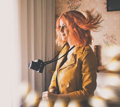 (AnnTheGinger) Tags: camera pink girl hair lights ginger fly wind magic fantasy dreams analogic levitate