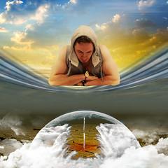 Meditation (jaci XIII) Tags: man globe surrealism space rocket meditation homem espao globo surrealismo meditao foguete