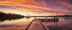 Styles Point (Trevor Tutt) Tags: sunset panorama sun lake colour water clouds boats fisherman pano jetty panoramic lakemacquarie trevortutt stylespoint