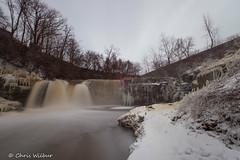 Winter in Medina (awaketoadream) Tags: new york travel winter snow ny water river town waterfall long exposure state cloudy falls western medina february