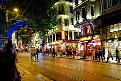 Nightlife in Istanbul, Turkey (` Toshio ') Tags: street city people building night turkey tracks restaurants istanbul nightlife toshio xe2 fujixe2