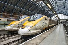 Eurostars St Pancras (Geoff Griffiths Doncaster) Tags: london st speed train high eurostar pancras 3010 3210 eurostars3210and3010stpancras