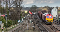 DB Schenker Class 60 no 60001 approaches Barnetby past the now disappeared semaphore signals on 24-03-2015 (kevaruka) Tags: uk greatbritain england sun colour history sunshine composition digital train canon march flickr colours unitedkingdom yorkshire transport rail railway sunny trains historic lincolnshire signals telephoto trainstation gb 5d locomotive fullframe past frontpage britishrail semaphore humber sunnyday dbs signalbox southyorkshire freightliner 2015 networkrail railfreight barnetby 60001 railnetwork dbschenker canon5dmk3 5dmk3 5d3 5diii 24032015 thephotographyblog canon70200f28ismk2 canoneos5dmk3