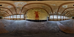 Theatersaal im Hindenburghaus (360 x 180) (diwan) Tags: urban panorama colors canon germany geotagged deutschland eos graffiti google place stitch decay roundabout indoor historical brandenburg panoramix plugins farben 360 gemeinde urbex historisch 2016 verfall ptgui equirectangular bundesland landkreis havelland elstal lostplace wustermark hindenburghaus theatersaal circularpatternrectified olympischesommerspiele1936 canoneos650d olympischesdorfberlin spivpano wladimiriljitschlenin walimexprofisheye835 colorefexpro4 nikcollection geo:lon=13015870 geo:lat=52535878