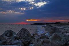Twilight zone stoned (Threin Ottossen) Tags: blue sea sky seascape beach nature water skyscape landscape denmark coast seaside twilight sand waves outdoor dusk stones shore bluehour lolland maglehoej
