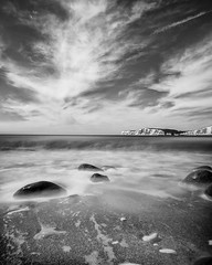 Compton Bay long exposure - DSCF8093 (s0ulsurfing) Tags: longexposure bw cliff seascape beach nature rock landscape mono bay coast rocks fuji natural compton shoreline monotone cliffs coastal filter shore april fujifilm coastline isle wight 2016 s0ulsurfing xt1 nd10 vertorama