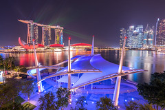 Marina Bay Sands Laser show. (5AAAAM) Tags: show city travel sky building art night marina buildings landscape asian bay landscapes nikon singapore asia cityscape nightshot performance cityscapes landmark laser 20mm nightscapes d800 citylight 20f18 nikond800 marinabaysand