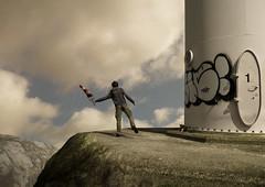 steady (Mattijn) Tags: rock cat graffiti wind photomontage turbine windsock