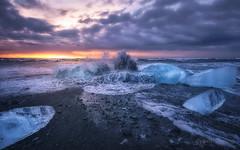 Iceland (joana dueas) Tags: winter seascape nature zeiss sunrise iceland waves magicmoments blackbeach northatlantic icebeach strongwaves photofeeling longexposeture joanadueas variotessartfe41635