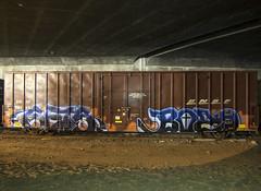 GETS . BOZO (TRUE 2 DEATH) Tags: longexposure railroad train graffiti tag graf trains railcar etc boxcar h2 railways railfan freight gets bozo freighttrain rollingstock benching freighttraingraffiti