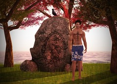 The Rock by the Sea (The Style Guy) Tags: ocean trees sunset sea shirtless man male men nature rock stone photoshop pose outdoors photography posing carving sl secondlife shore boardshorts poses mayfly aeros asset illi argrace wltb mayflyeyes argracehair clefdepeau themeshproject luckyserrari