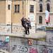 Bruxelles - Funambules au-dessus du canal 2016-04-09