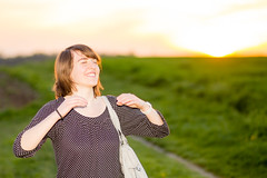 Week 16/52 - Portrait: Movement (BX_Orange) Tags: light sunset portrait woman girl fun evening abend licht movement sonnenuntergang natural flash joy bewegung blitz enjoyment strobe freude spas speedlite natrlich eos6d ef85mm18usm dogwood52 dogwoodweek16